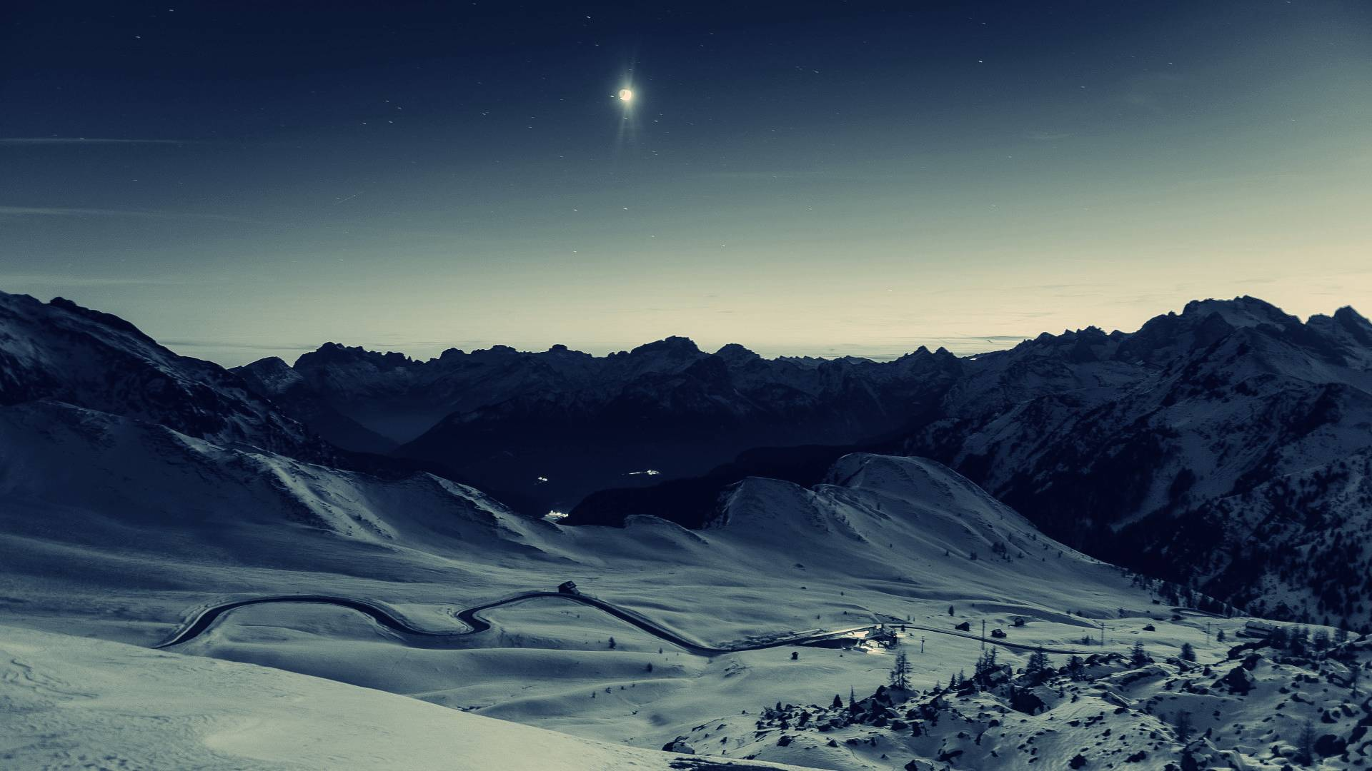 berge schnee nacht